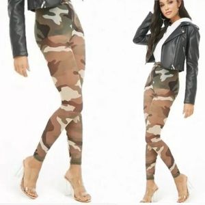 Forever 21 Sheer Camo Mesh Leggings Tights, XS